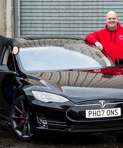 Chris Clarkson donating Tesla to Glasgow Museums
