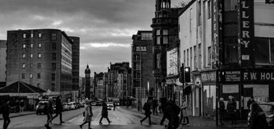 Lachlan Mckechnie: High Street, morning commute, seeing down to Trongate